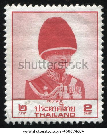 RUSSIA KALININGRAD, 3 JUNE 2016: stamp printed by Thailand shows King Bhumibol Adulyadej, circa 1988