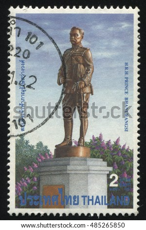 RUSSIA KALININGRAD, 2 JUNE 2016: stamp printed by Thailand, shows monument of H.R.H. Prince Bhanurangsi, circa 1997
