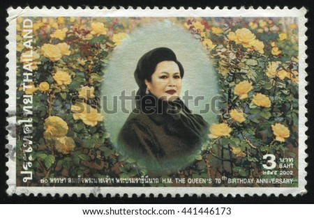 RUSSIA KALININGRAD, 2 JUNE 2016: stamp printed by Thailand shows Queen Sirikit, circa 2002