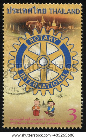 RUSSIA KALININGRAD, 2 JUNE 2016: stamp printed by Thailand, shows rotary detail on Bangkok background, circa 2012