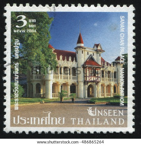 RUSSIA KALININGRAD, 4 JUNE 2016: stamp printed by Thailand, shows Sanam Chan Palace, Nakhon Pathom, circa 2004