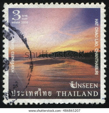 RUSSIA KALININGRAD, 3 JUNE 2016: stamp printed by Thailand, shows sea coast in sunset, circa 2004