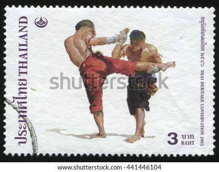 RUSSIA KALININGRAD, 2 JUNE 2016: stamp printed by Thailand shows Thai boxing, circa 2003 - stock photo