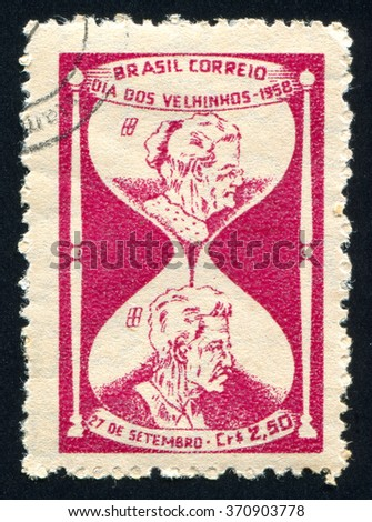 RUSSIA KALININGRAD, 23 MARCH 2014: stamp printed by Brazil, shows  Elderly Couple, circa 1958 - stock photo