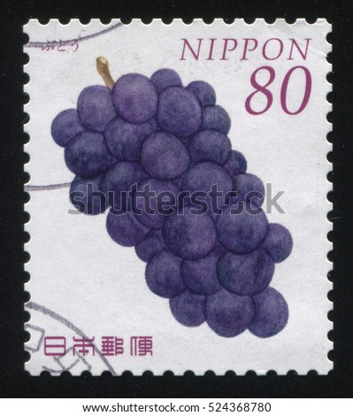 RUSSIA KALININGRAD, 18 MARCH 2016: stamp printed by Japan, shows  bunch of grapes, circa 2010