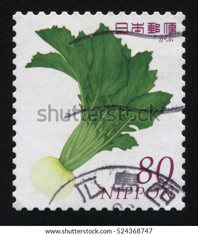 RUSSIA KALININGRAD, 18 MARCH 2016: stamp printed by Japan, shows turnip with long top, circa 2010