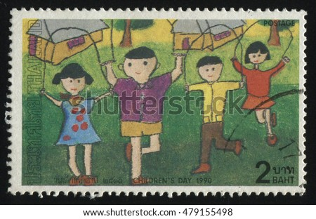 RUSSIA KALININGRAD, 31 MAY 2016: stamp printed by Thailand, shows children drawing of kids, skipping rope, circa 1990