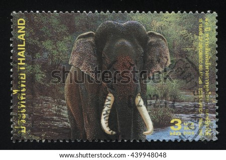 RUSSIA KALININGRAD, 30 MAY 2016: stamp printed by Thailand shows elephant, circa 2003