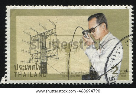 RUSSIA KALININGRAD, 31 MAY 2016: stamp printed by Thailand, shows Signaller King Bhumibol Adulyadej, circa 1997