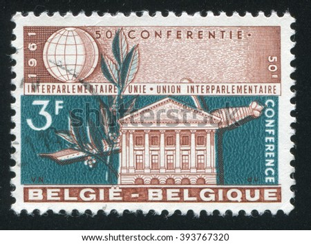 RUSSIA KALININGRAD, 20 OCTOBER 2015: A stamp printed by Belgium, shows Senate Building Brussels, circa 1961