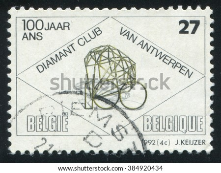 RUSSIA KALININGRAD, 19 OCTOBER 2015: stamp printed by Belgium, shows Antwerp Diamond Club, circa 1992