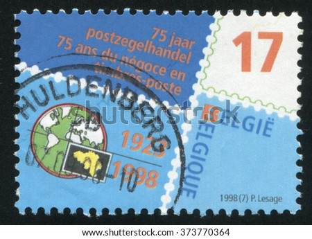 RUSSIA KALININGRAD, 26 OCTOBER 2015: stamp printed by Belgium, shows Belgian Stamp Dealers Association, circa 1998 - stock photo