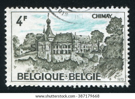 RUSSIA KALININGRAD, 19 OCTOBER 2015: stamp printed by Belgium, shows Chimay Castle, circa 1973