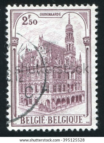 RUSSIA KALININGRAD, 20 OCTOBER 2015: stamp printed by Belgium, shows City Hall Audenarde, circa 1959