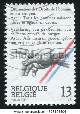 RUSSIA KALININGRAD, 20 OCTOBER 2015: stamp printed by Belgium, shows Declaration of Rights of Man and the Citizen, circa 1989 - stock photo