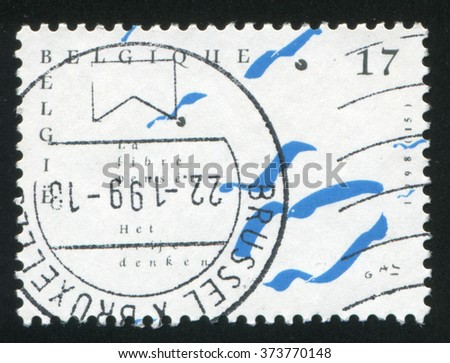 RUSSIA KALININGRAD, 26 OCTOBER 2015: stamp printed by Belgium, shows Free Thinking, circa 1998 - stock photo