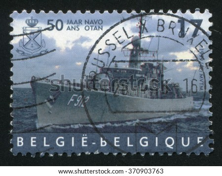 RUSSIA KALININGRAD, 19 OCTOBER 2015: stamp printed by Belgium, shows Frigate Wandelaar, NATO, circa 1999