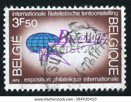 RUSSIA KALININGRAD, 19 OCTOBER 2015: stamp printed by Belgium, shows International Philatelic Exhibition, Brussels, Emblem, circa 1972 - stock photo