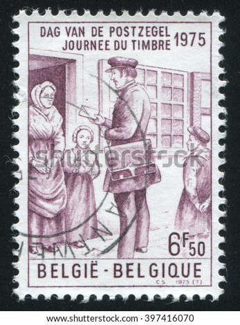RUSSIA KALININGRAD, 20 OCTOBER 2015: stamp printed by Belgium, shows Mailman by James Thiriar, circa 1975