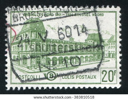 RUSSIA KALININGRAD, 19 OCTOBER 2015: stamp printed by Belgium, shows Old North Station Brussels, circa 1959