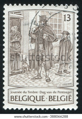 RUSSIA KALININGRAD, 20 OCTOBER 2015: stamp printed by Belgium, shows Postman, by James Thiriar, circa 1988 - stock photo