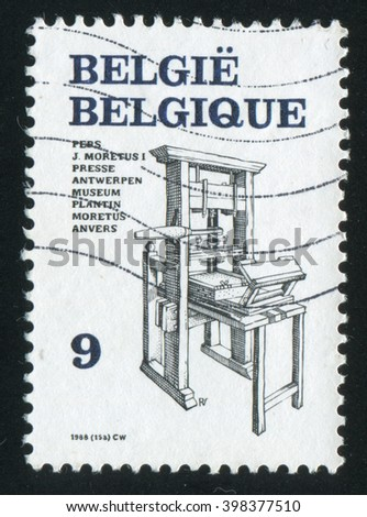 RUSSIA KALININGRAD, 20 OCTOBER 2015: stamp printed by Belgium, shows Printing Presses, circa 1988 - stock photo