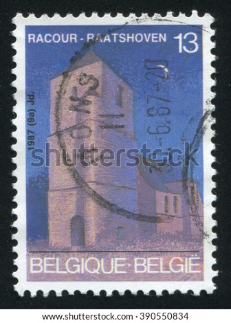 RUSSIA KALININGRAD, 20 OCTOBER 2015: stamp printed by Belgium, shows St. Christopherâ??s Church, Racour, circa 1987
