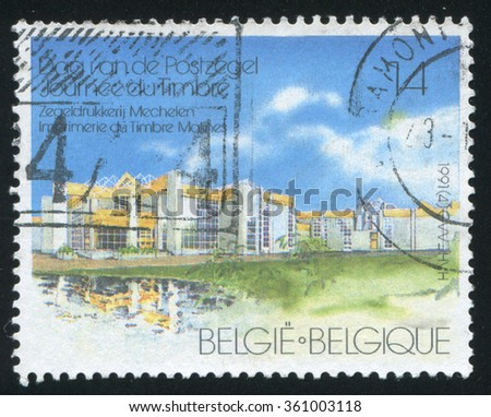 RUSSIA KALININGRAD, 26 OCTOBER 2015: stamp printed by Belgium, shows Stamp Printing Office, Mechlin, circa 1991 - stock photo