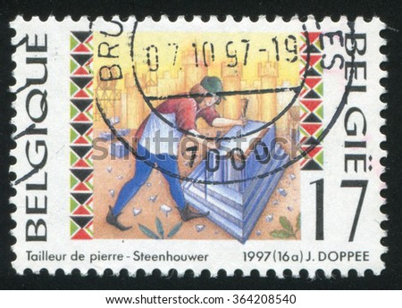RUSSIA KALININGRAD, 26 OCTOBER 2015: stamp printed by Belgium, shows Stone cutter, circa 1997