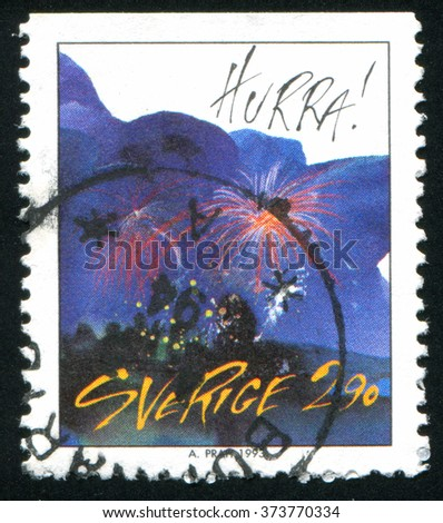RUSSIA KALININGRAD, 5 OCTOBER 2013: stamp printed by Sweden, shows abstract art, circa 1993 - stock photo