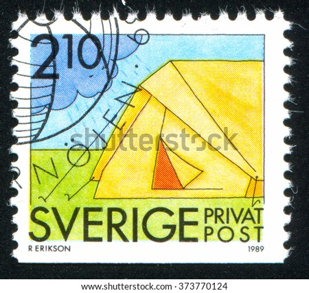 RUSSIA KALININGRAD, 21 OCTOBER 2013: stamp printed by Sweden, shows Camping, circa 1989 - stock photo