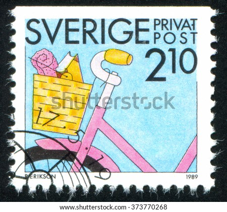 RUSSIA KALININGRAD, 21 OCTOBER 2013: stamp printed by Sweden, shows Cycling, circa 1989 - stock photo