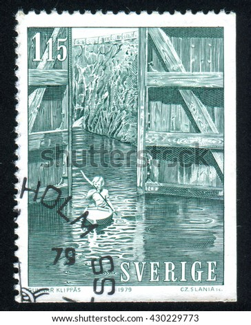 RUSSIA KALININGRAD, 13 OCTOBER 2013: stamp printed by Sweden, shows Gota Canal, circa 1979