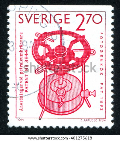 RUSSIA KALININGRAD, 20 OCTOBER 2013: stamp printed by Sweden, shows Paraffin stove, F.W. Lindqvist, circa 1984