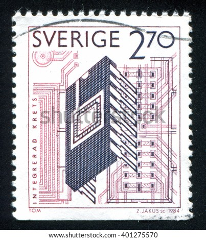 RUSSIA KALININGRAD, 20 OCTOBER 2013: stamp printed by Sweden, shows SLIC integrated electronic circuit, circa 1984 - stock photo
