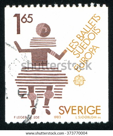 RUSSIA KALININGRAD, 20 OCTOBER 2013: stamp printed by Sweden, shows Swedish Ballet, circa 1983 - stock photo