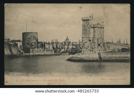RUSSIA KALININGRAD, 19 SEPTEMBER 2016: postcard printed by France shows La Rochelle, circa 1900