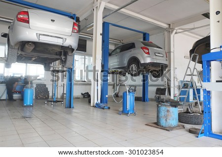 Russia, Kaluga, July, 8, 2015: Interior of a car repair station in Kaluga, Russia - stock photo