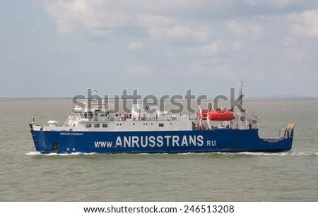 RUSSIA, KERCH 12, 2014: Car ferry service between Krasnodar region and the Crimea - stock photo