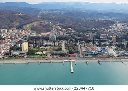 Russia, Krasnodar krai, Sochi cityscape. View from above of a Adler district - stock photo