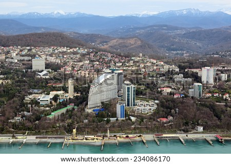 Russia, Krasnodar krai, Sochi cityscape, view from above of a modern residential building - stock photo
