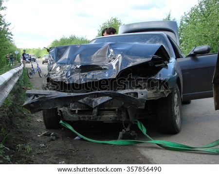 RUSSIA, KRASNODAR. May 16, 2014. Accident with participation of the car. - stock photo