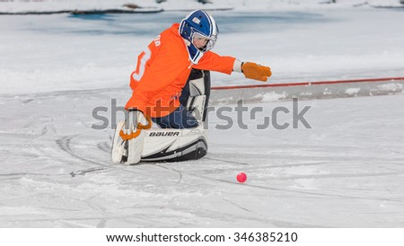 RUSSIA, KRASNOGORSK - NOVEMBER 15, 2015: Zorky-Vimpel 4:4, training match boys under 12 hockey League bandy, Russia.