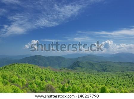 Russia. Lagonaki plateau. Adygea. Mountains in early spring - stock photo