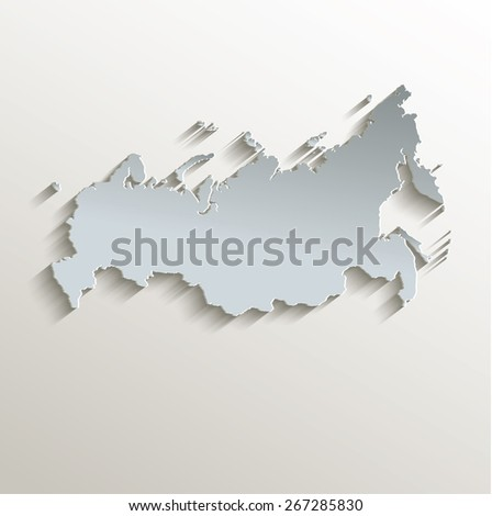 Russia map white blue card paper 3D raster - stock photo