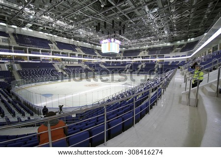 RUSSIA, MOSCOW - APRIL 27, 2015: Interior of Ice Palace VTB Moscow just before hockey game CSKA vs SKA teams on Hockey Cup of Legends in Ice Palace VTB, Moscow, Russia - stock photo