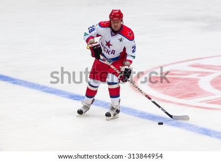 RUSSIA, MOSCOW - APRIL 27, 2015: Oleg Shargorodsky (28) in action on hockey game CSKA vs SKA teams on Hockey Cup of Legends in Ice Palace VTB, Moscow, Russia