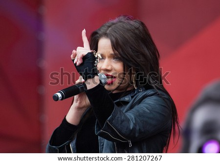 RUSSIA, MOSCOW - APRIL 18: R&B Singer Bianka sing a song on event of 80th anniversary of Spartak team in Luzhniki, Moscow, Russia, 2015