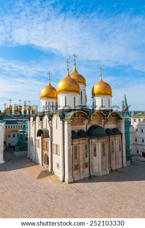 Russia. Moscow. Assumption Cathedral. Assumption Cathedral of the Moscow Kremlin - the Orthodox Church, situated on the Cathedral square of the Moscow Kremlin Patriarchal Cathedral . - stock photo