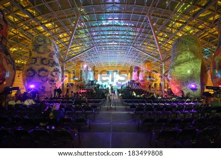 RUSSIA, MOSCOW - DEC 14, 2013: beauty contest among office employees Miss Office 2013 at shopping center Afimall. - stock photo
